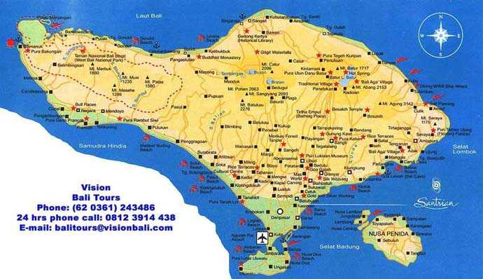 Sanur Bali Hotels Puri Santrian Hotel Layout and Maps