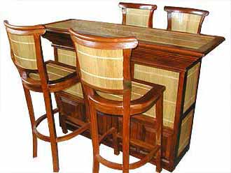 BAR FURNITURE SET TEAK WOOD AND BAMBOO 4 CHAIR : @......... + 1 TABLE:  ......... PRICE: Rp ..