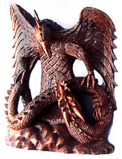 flying dragon wood carving